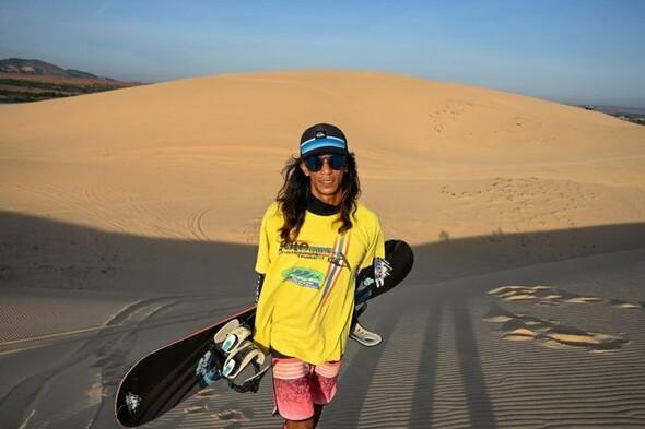 Du snowboard sur les dunes